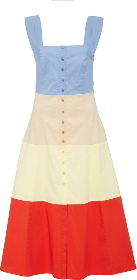 Staud Ariel Striped Cotton-Poplin Midi Dress