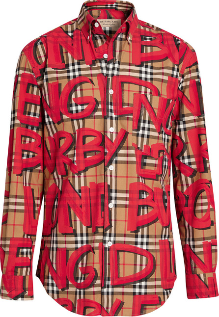 Burberry London England Graffiti Print Vintage Check Shirt