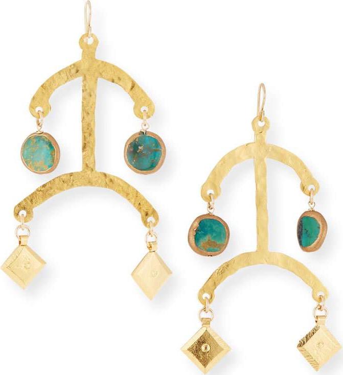 Devon Leigh - Hammered Turquoise Dangle Earrings
