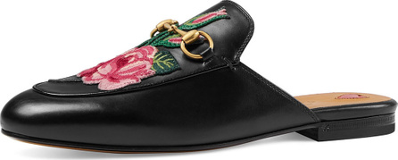Gucci Princetown Bloom Floral Slipper, Black