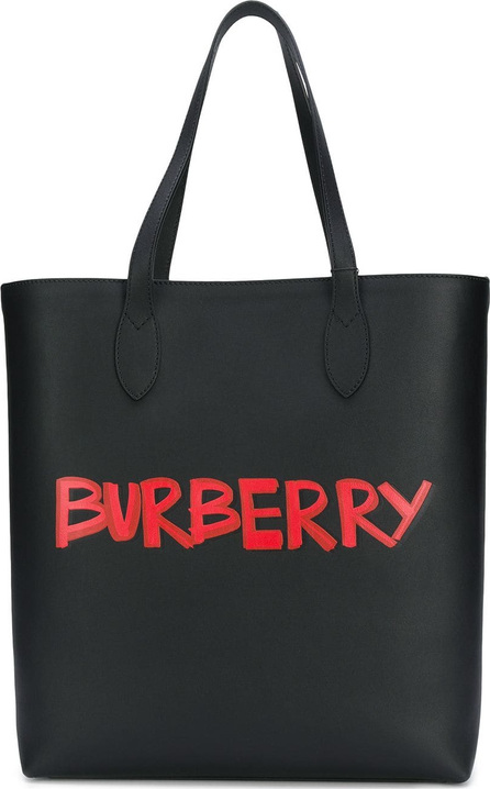 Burberry London England Graffiti Print Bonded Leather Tote