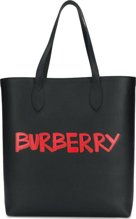 Burberry London England Graffiti Print Bonded Leather Tote