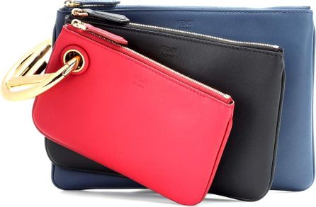 Fendi Triplette leather clutch