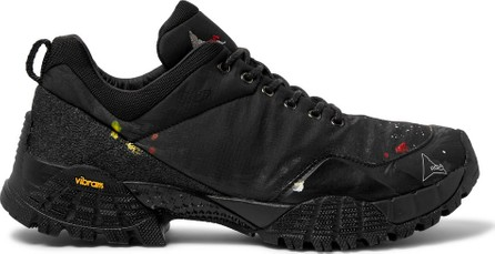 Roa Oblique Paint-Splattered Mesh, Ripstop and Rubber Sneakers