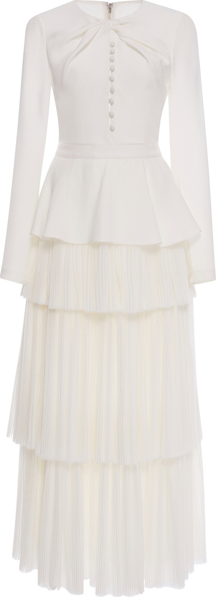Prabal Gurung Long Sleeve Tiered Pleat Dress