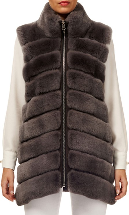 Gorski Horizontal Rex Rabbit Fur Reversible Zip-Front Vest