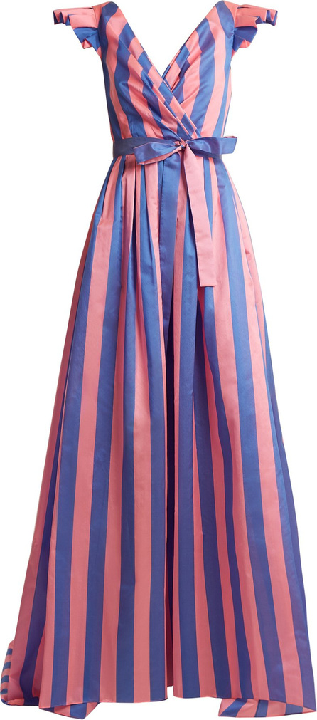 Striped frilled-sleeve gown