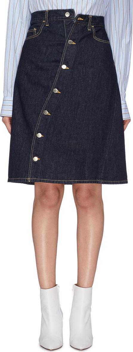 FACETASM Slant button front denim skirt