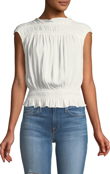 FRAME DENIM Soft Sleeveless Smocked Blouse