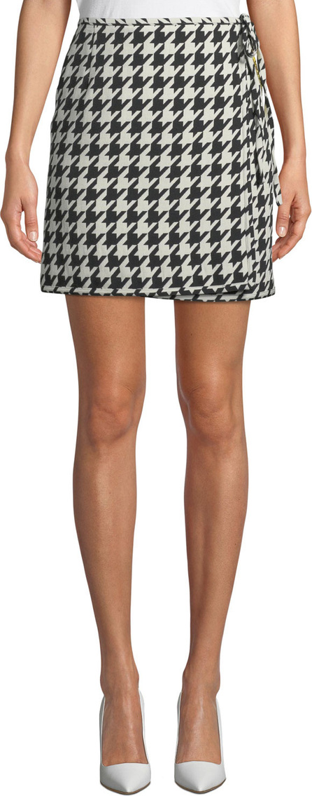 Off White Houndstooth Mini Skirt w/ Logo Band