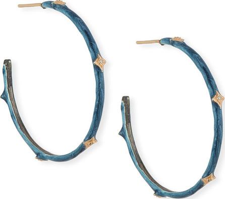 Armenta New World Diamond Crivelli & Enamel Hoop Earrings