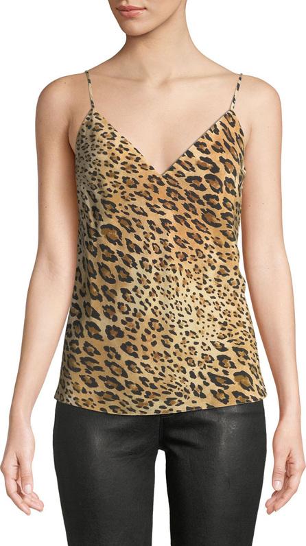 FRAME DENIM V-Neck Cheetah-Print Silk Cami Top