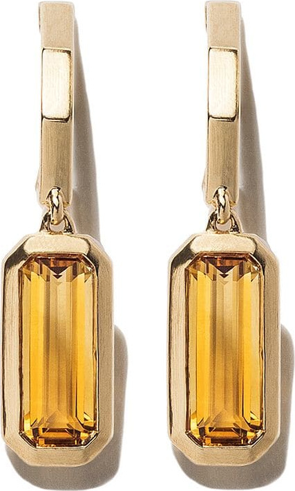 David Yurman 18kt yellow gold Novella hoop drop citrine earrings
