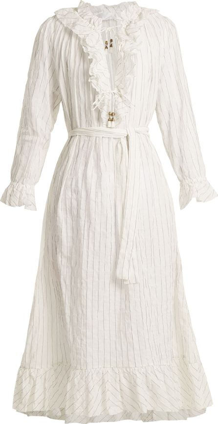 Zimmermann Corsair Pinstripe cotton-blend dress