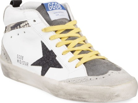 Golden Goose Deluxe Brand Mid Star Snake-Detailed Leather Sneakers