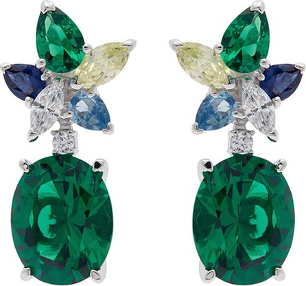 Anabela Chan 'Lily' gemstone 18k white gold vermeil drop earrings