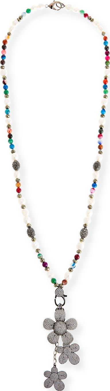 Hipchik Couture Camellia Long Beaded Charm Necklace