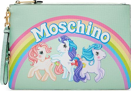Moschino Little Pony Zipped Leather Clutch