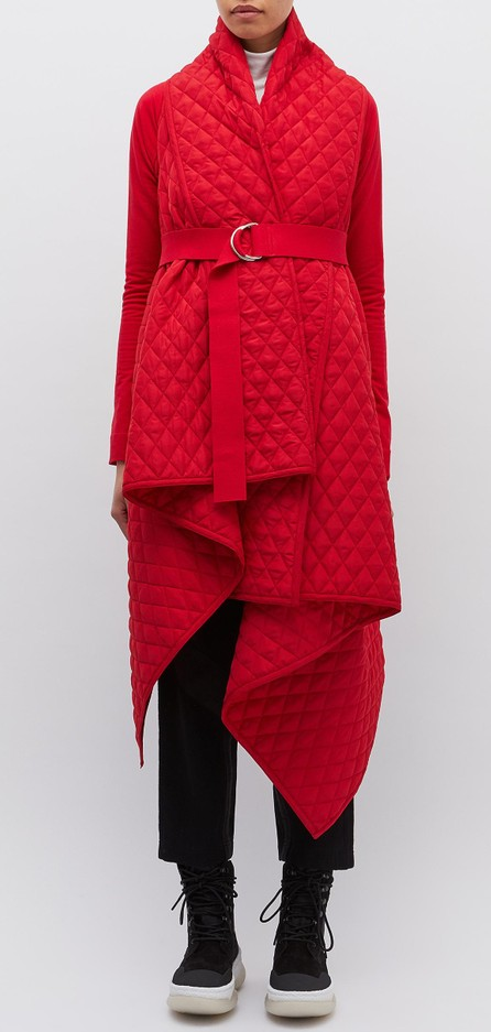 Norma Kamali Belted drape quilted blanket coat