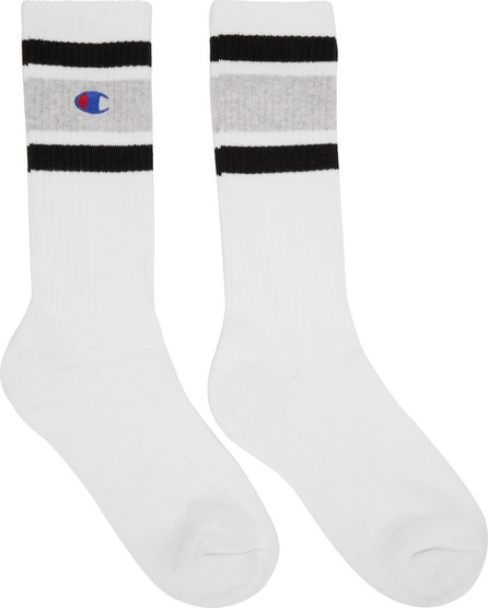 Champion Reverse Weave White & Grey Logo Socks