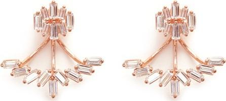 Fallon 'Jagged Edge' baguette cut cubic zirconia jacket earrings