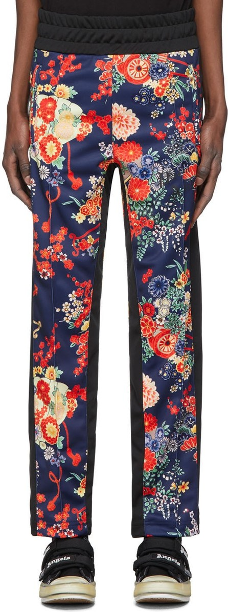 Palm Angels Blue & Black Blooming Lounge Pants