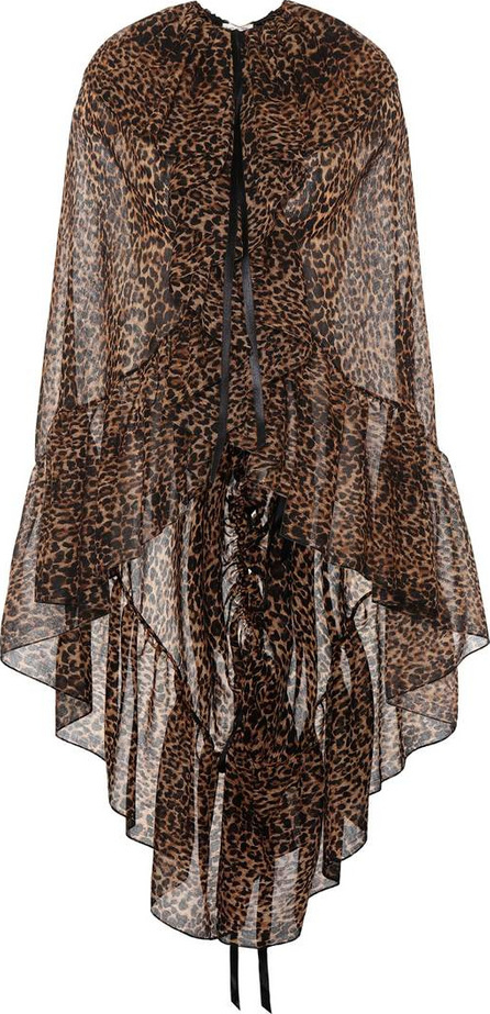 Saint Laurent Leopard-printed virgin wool cape