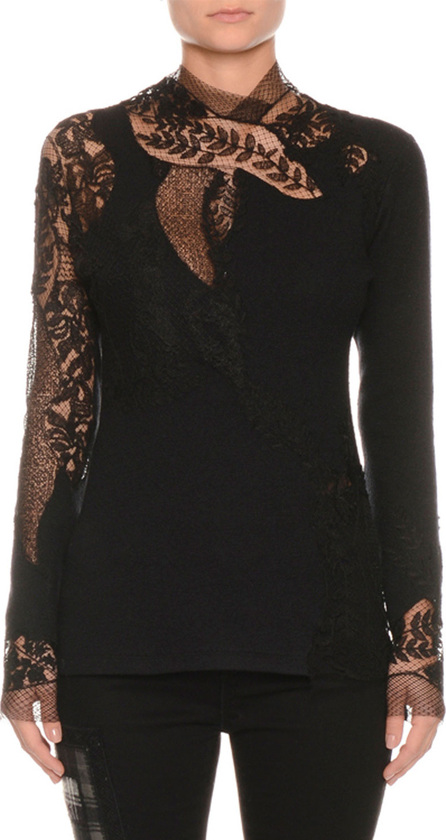 Ermanno Scervino Long-Sleeve Floral-Lace Pashmina Top