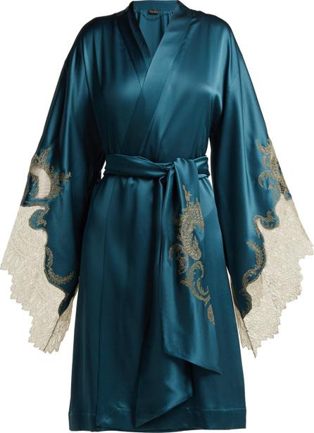 CARINE GILSON Lace-trimmed silk-satin kimono robe