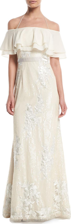 Aidan by Aidan Mattox Popover Sequin Gown