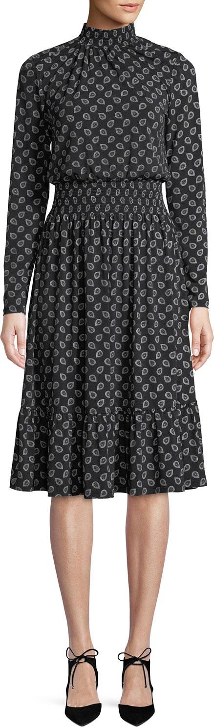 MICHAEL MICHAEL KORS Smocked Neck & Waist Long-Sleeve Foulard-Print Dress