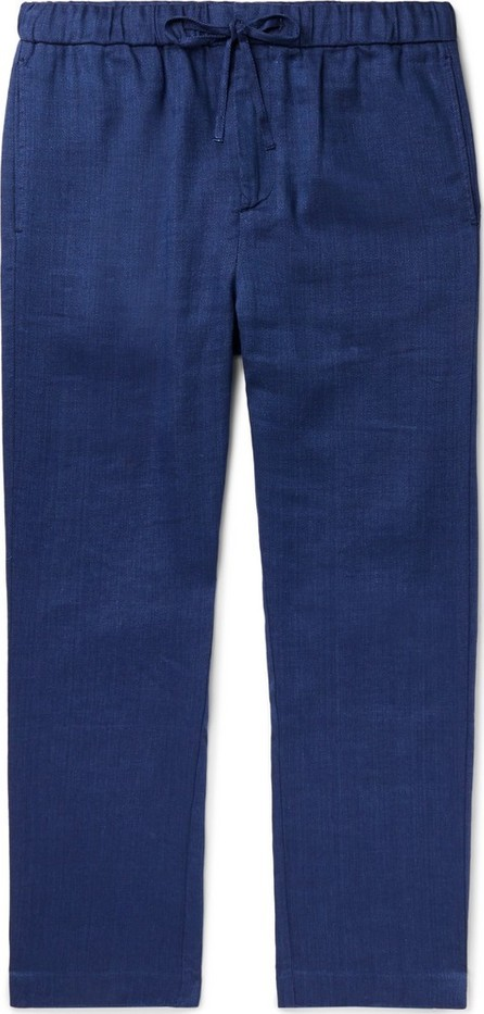 Frescobol Carioca Navy Linen and Cotton-Blend Drawstring Trousers