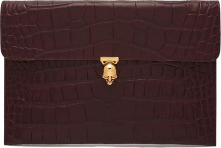 Alexander McQueen Skull crocodile-effect leather envelope clutch