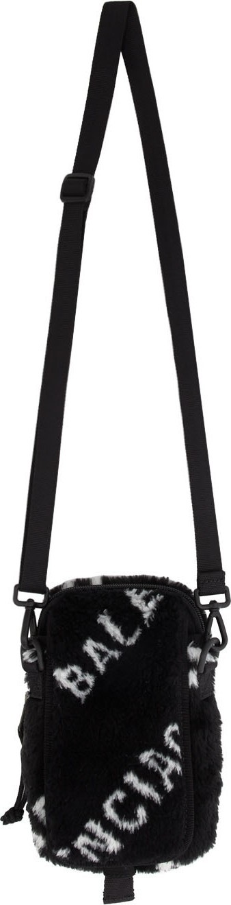 Balenciaga Black & White Faux-Fur Explorer Crossbody Pouch