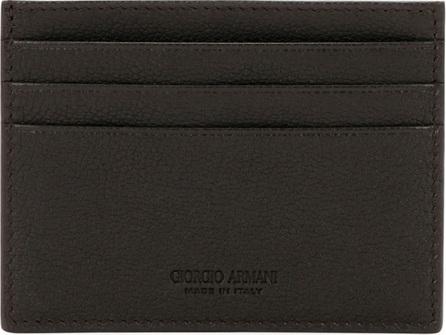Giorgio Armani Tumbled Leather Credit Card Holder, Brown