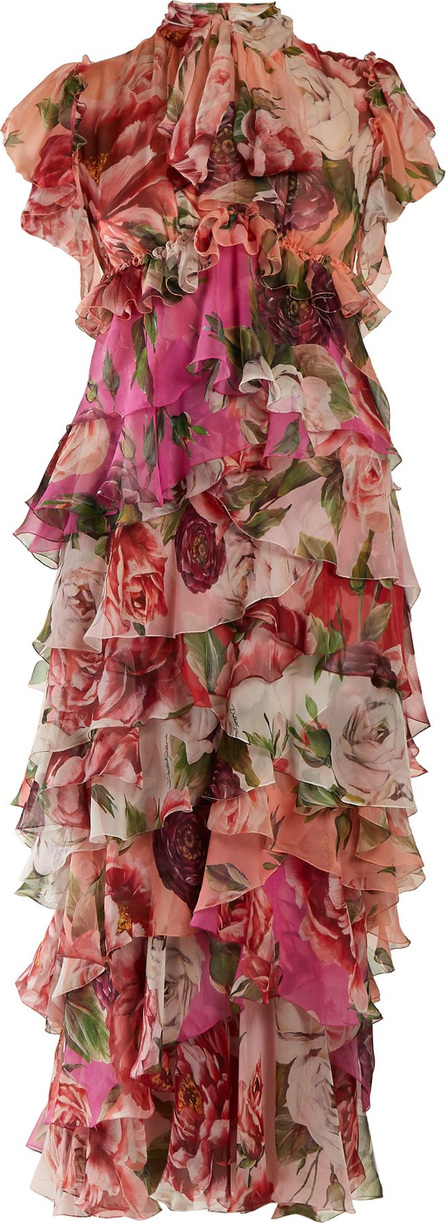 Dolce & Gabbana Peony and rose-print tiered chiffon midi dress