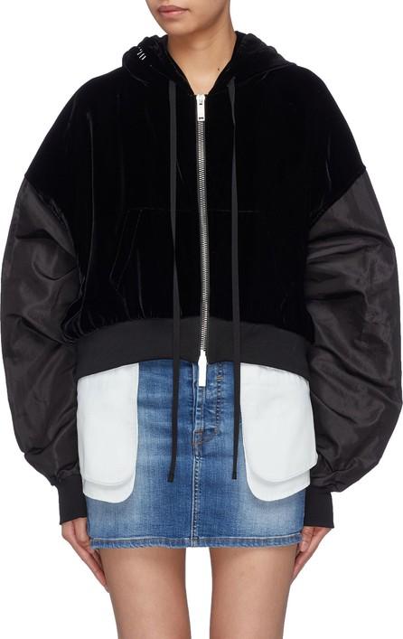 Ben Taverniti Unravel Project Contrast extra long sleeve cropped velvet zip hoodie