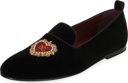 Dolce & Gabbana Men's Velvet Formal Slippers with Heart Applique