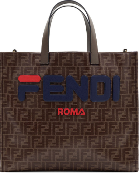 Fendi Fendi Runway Collection Calf Leather and Canvas Tote Bag