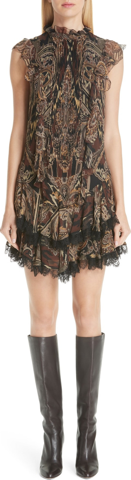 Etro Paisley Print Silk Ruffle Dress