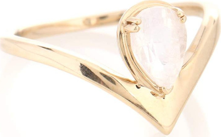 Anna Sheffield Celestine Orbit 14kt yellow gold ring with moonstone
