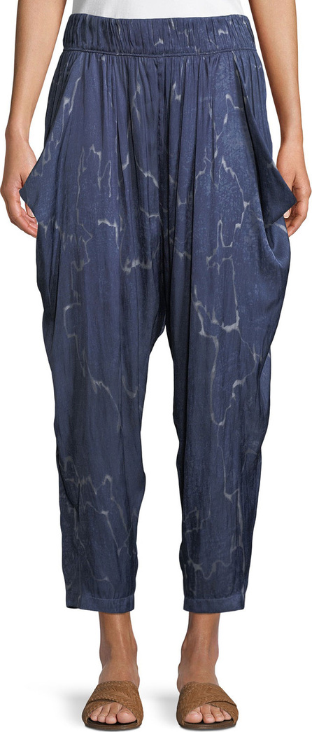 HALSTON HERITAGE Flowy Seismic-Print Ruched Cropped Pants