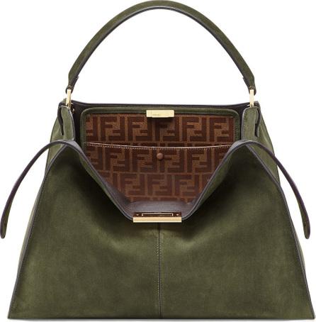 Fendi Peekaboo X-Lite Suede & Leather Satchel Bag