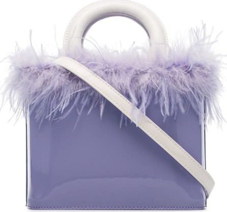 Staud Purple Nic feather embellished patent leather tote bag