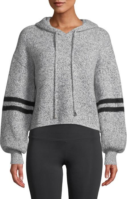 ONZIE Varsity Striped Blouson-Sleeve Cropped Hoodie