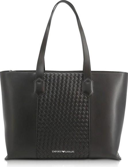 Emporio Armani Black Woven Eco-Leather Tote Bag
