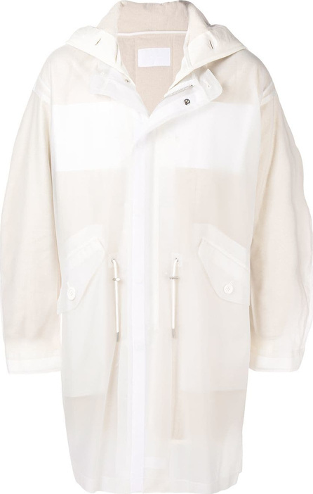 Helmut Lang Long sheer hooded coat
