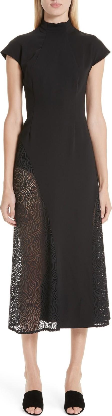 Beaufille Cap Sleeve Lace Trim Midi Dress
