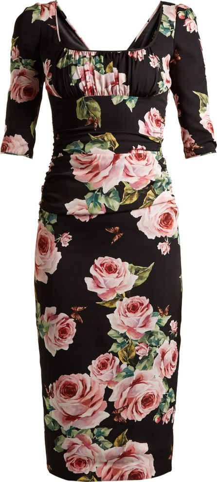 Dolce & Gabbana Rose-print ruched-bust charmeuse dress