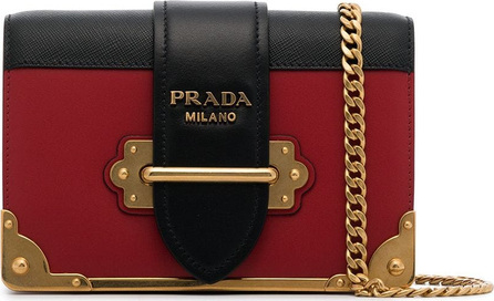 Prada Black and red cahier mini leather shoulder bag